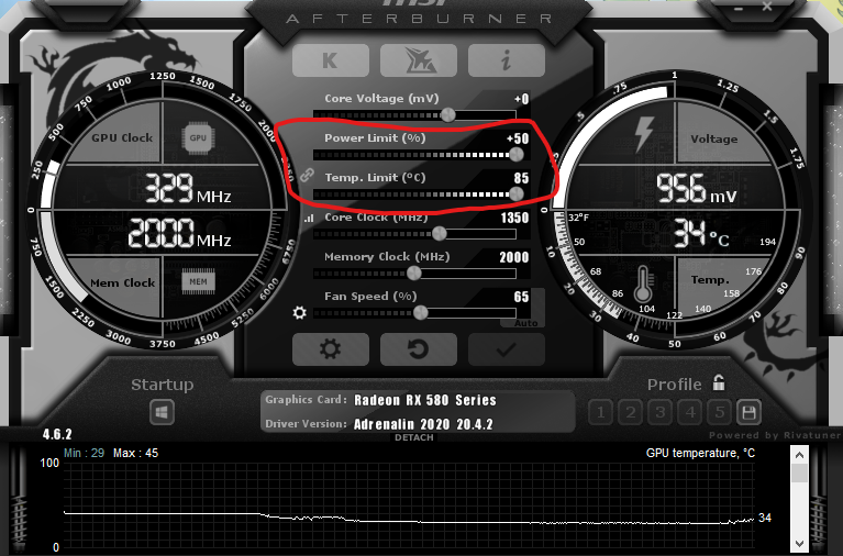 MSI Afterburner Power and Temperature Limit