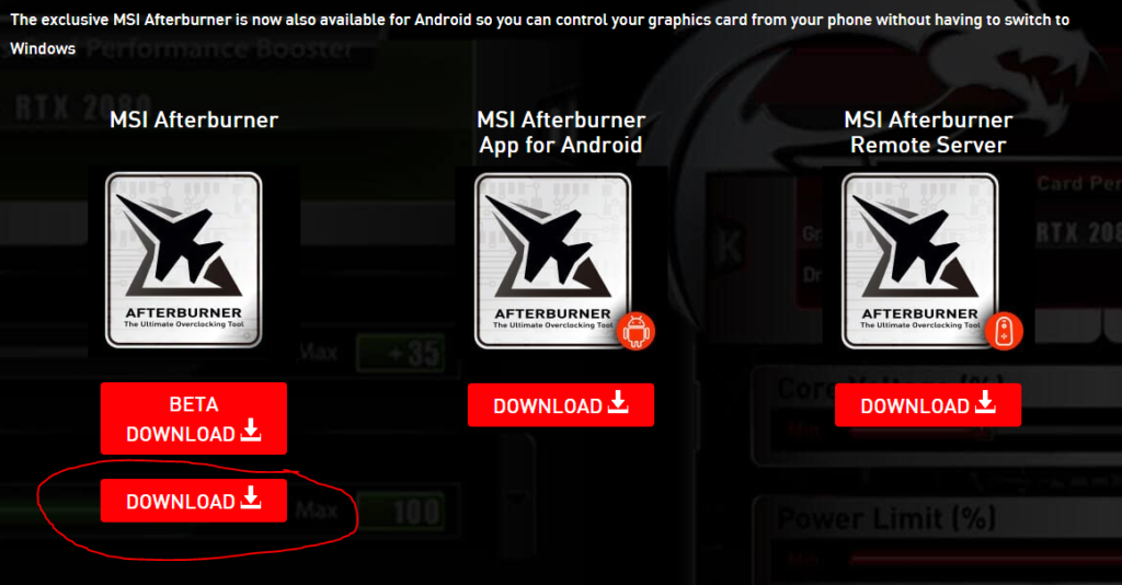 MSI Afterburner step1