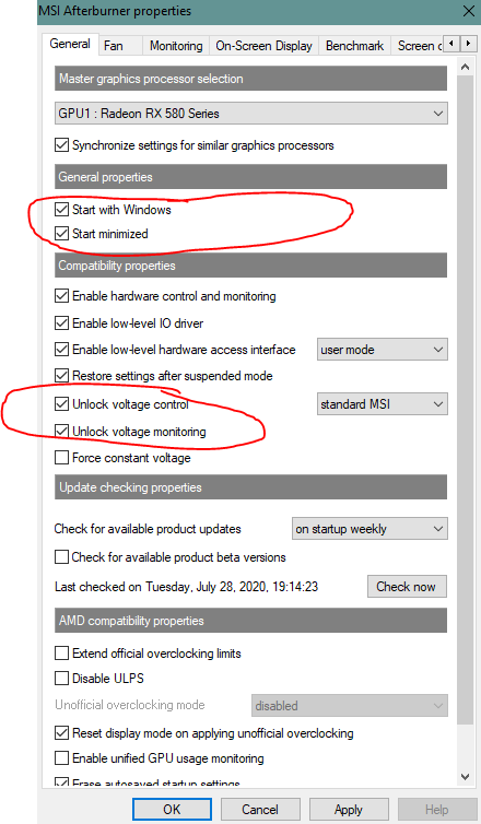 settings MSI Afterburner